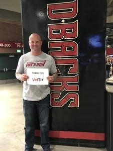 Sandor attended Arizona Diamondbacks vs. San Diego Padres - MLB on Apr 21st 2018 via VetTix