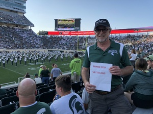 Gregory attended Michigan State Spartans vs. Utah State Aggies - NCAA Football on Aug 31st 2018 via VetTix