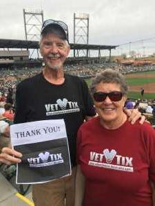 Dennis & Diane attended Colorado Rockies vs. Oakland Athletics   - MLB Spring Training on Mar 11th 2019 via VetTix