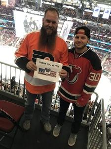 Brandon attended New Jersey Devils vs. Philadelphia Flyers - NHL on Jan 13th 2018 via VetTix