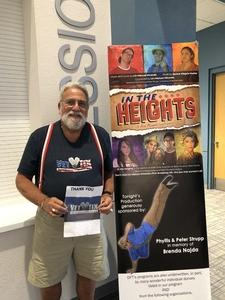 Gregory attended In the Heights - Friday on Apr 6th 2018 via VetTix