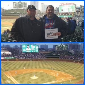 Adam attended Chicago Cubs vs. Pittsburgh Pirates - MLB on Apr 11th 2018 via VetTix