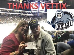 Salvatore attended Jacksonville Icemen vs. South Carolina Stingrays on Mar 31st 2018 via VetTix
