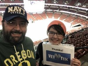 Eric attended Anaheim Ducks vs. New Jersey Devils - NHL - Antis Roofing Community Corner! on Mar 18th 2018 via VetTix