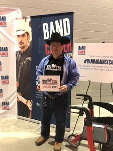 Seung attended Brad Paisley Weekend Warrior World Tour Standing and Lawn Seats Only on Apr 13th 2018 via VetTix