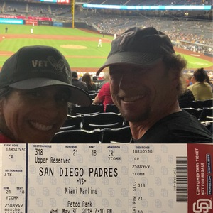 MADELYN attended San Diego Padres vs. Miami Marlins - MLB on May 30th 2018 via VetTix