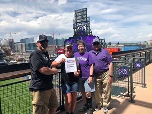 Sheri attended Colorado Rockies vs. Cincinnati Reds - MLB on May 27th 2018 via VetTix