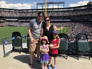 Vanessa attended Colorado Rockies vs. Cincinnati Reds - MLB on May 27th 2018 via VetTix