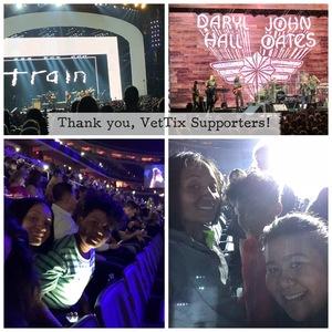 Jennifer attended Daryl Hall & John Oates and Train on Jun 11th 2018 via VetTix