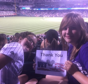 MICHELLE attended Colorado Rockies vs. Arizona Diamondbacks - MLB on Jul 11th 2018 via VetTix