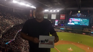 Christopher attended Arizona Diamondbacks vs. Philadelphia Phillies - MLB on Aug 7th 2018 via VetTix
