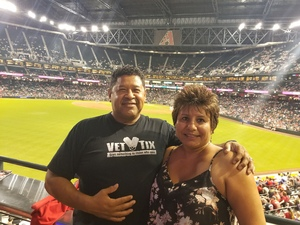 Ernesto and Sharon attended Arizona Diamondbacks vs. Texas Rangers - MLB on Jul 30th 2018 via VetTix