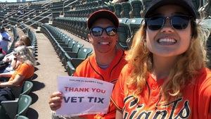 Jonathan attended Oakland Athletics vs. San Francisco Giants - MLB on Jul 22nd 2018 via VetTix