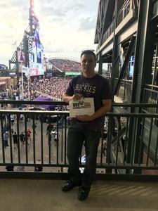 Santino attended Colorado Rockies vs. Pittsburgh Pirates - MLB on Aug 6th 2018 via VetTix