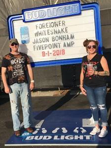 Blake attended Jukebox Heroes Foreigner with Whitesnake, Jason Bonham's Led Zeppelin - Reserved Seats on Aug 1st 2018 via VetTix
