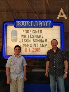 Michael attended Jukebox Heroes Foreigner with Whitesnake, Jason Bonham's Led Zeppelin - Reserved Seats on Aug 1st 2018 via VetTix