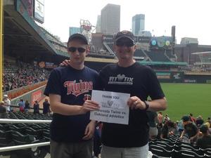 Gregory attended Minnesota Twins vs. Oakland Athletics - MLB on Aug 26th 2018 via VetTix