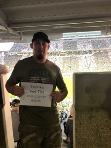 Jered attended Michigan State Spartans vs. Utah State Aggies - NCAA Football on Aug 31st 2018 via VetTix