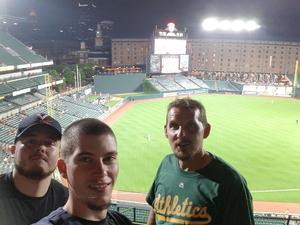 Jamie attended Baltimore Orioles vs. Oakland Athletics - MLB on Sep 12th 2018 via VetTix