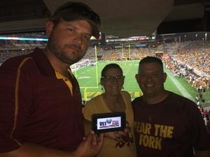 Sean attended Arizona State University Sun Devils vs. UTSA - NCAA Football on Sep 1st 2018 via VetTix
