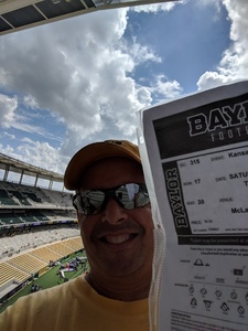 Thomas attended Baylor University Bears vs. Kansas State - NCAA Football on Oct 6th 2018 via VetTix