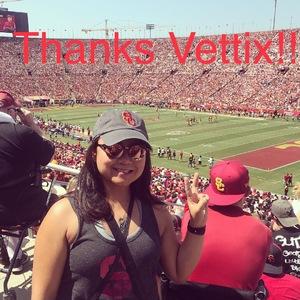 Vanessa attended USC Trojans vs. UNLV - NCAA Football on Sep 1st 2018 via VetTix