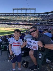 Jeff A. attended Colorado Rockies vs Arizona Diamondbacks - MLB on Sep 13th 2018 via VetTix