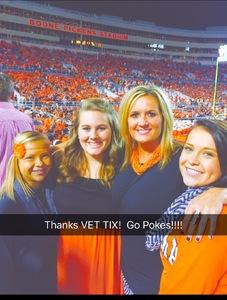 Alisha attended Oklahoma State University Cowboys vs. Missouri State - NCAA Football on Aug 30th 2018 via VetTix