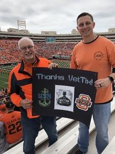 Robert attended Oklahoma State University Cowboys vs Iowa State - NCAA Football on Oct 6th 2018 via VetTix