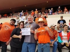 Russell attended Oklahoma State University Cowboys vs Iowa State - NCAA Football on Oct 6th 2018 via VetTix