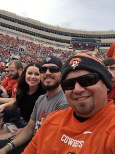Marcus attended Oklahoma State University Cowboys vs Iowa State - NCAA Football on Oct 6th 2018 via VetTix