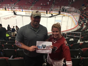 Chuck attended Arizona Coyotes vs. Buffalo Sabres - NHL on Oct 13th 2018 via VetTix