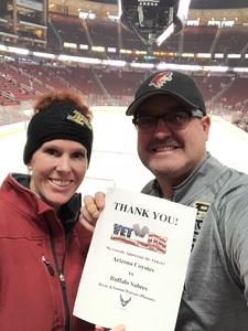 Brent Watson attended Arizona Coyotes vs. Buffalo Sabres - NHL on Oct 13th 2018 via VetTix