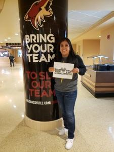Anne attended Arizona Coyotes vs. Buffalo Sabres - NHL on Oct 13th 2018 via VetTix