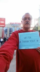 Paul Alexander SMSgt USAF Retired attended Arizona Coyotes vs. Buffalo Sabres - NHL on Oct 13th 2018 via VetTix