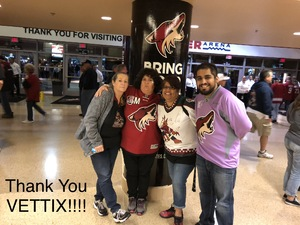 Monica attended Arizona Coyotes vs. Buffalo Sabres - NHL on Oct 13th 2018 via VetTix