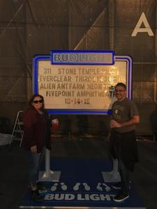 Raul attended Jack's 13th Show with 311, Third Eye Blind, Stone Temple Pilots, Neon Trees, Everclear and Alien Ant Farm on Oct 14th 2018 via VetTix