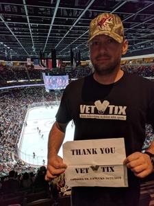 Jeffrey attended Arizona Coyotes vs. Vancouver Canucks - NHL on Oct 25th 2018 via VetTix
