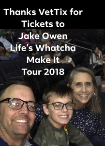 Aymeric attended Jake Owen - Life's Whatcha Make It Tour - Country on Nov 3rd 2018 via VetTix