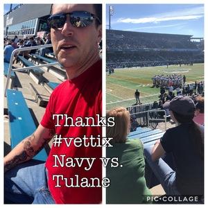 Kaanan attended Tulane University vs. Navy - NCAA Football on Nov 24th 2018 via VetTix