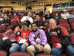 Monica attended Arizona Coyotes vs. Ottawa Senators - NHL on Oct 30th 2018 via VetTix