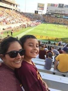 Jessica attended Arizona State Sun Devils vs Utah - NCAA Football on Nov 3rd 2018 via VetTix