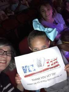 Carrie attended Disney on Ice Celebrates 100 Years of Magic - Ice Shows on May 16th 2019 via VetTix