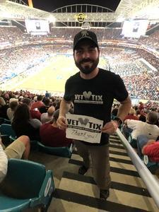 Justin attended 2018 Capital One Orange Bowl - Oklahoma Sooners vs. Alabama Crimson Tide - College Football Playoffs Semifinal Game on Dec 29th 2018 via VetTix