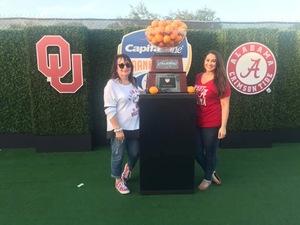 Amber attended 2018 Capital One Orange Bowl - Oklahoma Sooners vs. Alabama Crimson Tide - College Football Playoffs Semifinal Game on Dec 29th 2018 via VetTix