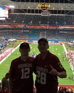 Aubrey attended 2018 Capital One Orange Bowl - Oklahoma Sooners vs. Alabama Crimson Tide - College Football Playoffs Semifinal Game on Dec 29th 2018 via VetTix