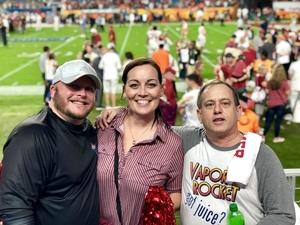 Katie attended 2018 Capital One Orange Bowl - Oklahoma Sooners vs. Alabama Crimson Tide - College Football Playoffs Semifinal Game on Dec 29th 2018 via VetTix