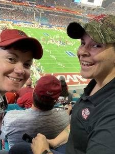 Rebekah attended 2018 Capital One Orange Bowl - Oklahoma Sooners vs. Alabama Crimson Tide - College Football Playoffs Semifinal Game on Dec 29th 2018 via VetTix