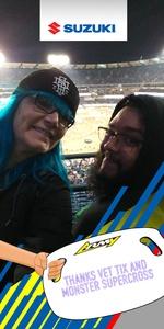 Jamie attended Monster Energy Supercross on Jan 5th 2019 via VetTix