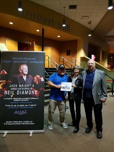 Greg attended Jack Wright - the Music of Neil Diamond on Jan 18th 2019 via VetTix